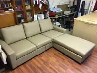New corner six seater sofa in khaki leather