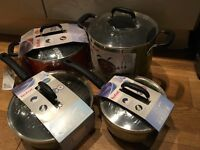 New and Sealed TEFAL set of 4 non-stick pans, rare retired colours, ideal for family