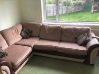 L-shaped sofa bed and arm chair - brown fabric