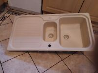Kitchen Sink with 1 and 1/2 bowls and drainer