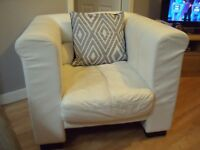 2 PIECE WHITE SOFAS, 3 SEATER AND 1 SEATER