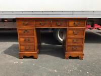 Yew wood leather top desk
