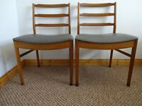 2 x Vintage Mid Century Teak Ladder Back Dining Chairs