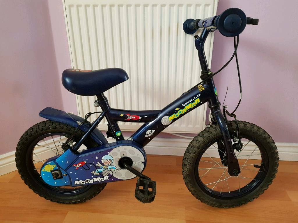 "Bike 'MoonMan' 14"" wheels with stabilizers, for aged between 4-6"