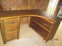 L-shaped wooden desk