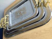 Brand new gold/silver luxury serving trays