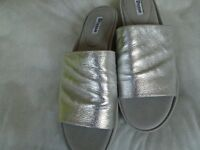 Dune sandals in silver leather, size 40 (7) to collect from Brighouse, West Yorks
