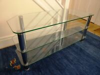 Glass TV stand (glass 8mm thick) with silver legs