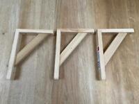 B&Q Wooden Timber Pine Shelf Bracket x 3 (same as Ikea) BRAND NEW
