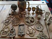 Collection of vintage, antique brass wear