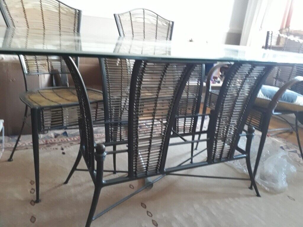 Pleasing Glass And Wire Dining Room Table 6 Chairs In Wickford Essex Gumtree Uwap Interior Chair Design Uwaporg