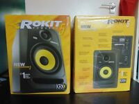 KRK ROKIT 5 G3, Focusrite scarlett 2i2 sound card, novation Launchkey 25 controller keyboard