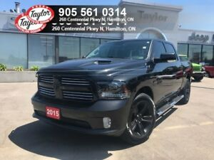 2015 Ram 1500 Sport Crew 4x4 V8 Blackout w/Leather, Backup Cam