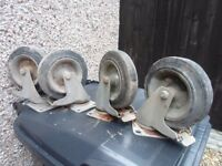 Heavy duty castor wheels set of 4 used with rubber tyres/brakes