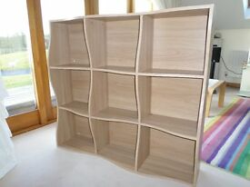 Book Case or Display Unit, Wavey Form, Light Oak Colour.