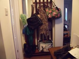 HALL CLOTHES STAND IN DARK WOOD WITH UMBRELLA STAND AND MIRROR ATTACHED