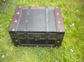 A WOODEN TREASURE BOX 20X18X12 INCHES