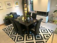 Dining table, 6 chairs, Rug AND console table