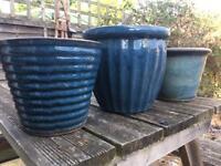 3 ceramic blue plant pots
