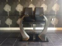 Glass Dining Table with Black Gloss and Chrome Stand