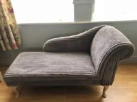 Grey Jumbo Cord Chaise Longue Chair