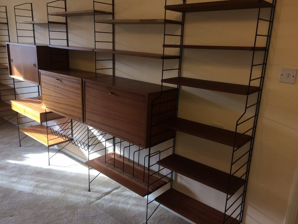 09cdd5ade760 Vintage Nils Strinning Ladderax String Shelving System with Cabinets ...