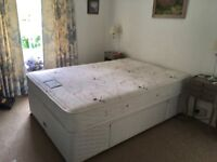 4 foot 6 bed with pocket spring mattress immaculate condition