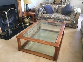 Substantial oak and glass Heal's coffee table