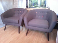 2 X Athena Button Back Tub Chairs - Dark Grey !!BRAND NEW!!
