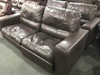 2 as new soft brown leather 2 seater sofas