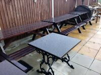 Garden picnic benches plus one round eight seater bench