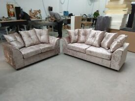 NEW 3 + 2 MINK CRUSHED VELVET-SOFA SET INCLUDES FREE DELIVERY & FREE MATCHING STOOL FOR £289.99