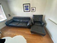 DFS Black Leather 3 Seat sofa, Armchair & Footstool
