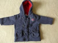 Blue and Red Duffle Coat with zip Age 9-12 months