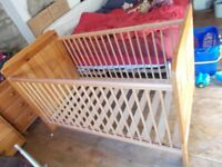 USED WOODEN COT BED _ NO MATTRESS