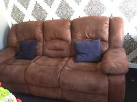 Suede brown sofa recliner 3 and 2 seats