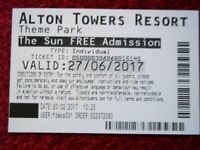 Alton Towers Ticket 27th June