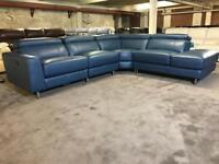 BRAND NEW FROM FABB SOFAS ICONICA IMPACT CORNER SOFA SAPPHIRE BLUE LEATHER RECLINER LHF ARM CHAISE