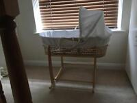 Clair de lune Moses basket and deluxe rocking stand
