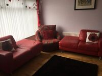 2 Real Leather Sofas For Sale