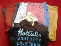 "mens/boys chino shorts W 30"" & 28"" 7 pairs , 2 Hollister t shirts"
