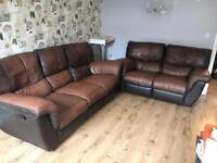 3 seater and 2 seater leather recliner sofas