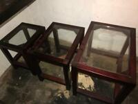 Nest of tables wood and glass inserts
