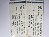 2 x Peter Hook and the Light tickets Barrowlands tonight £25 for both (half price)