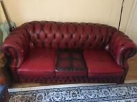 Rustic 3 Seater Chesterfield Sofa - reluctant sale - £210