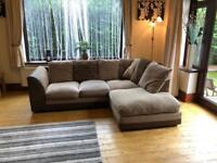 Brown Suede Fabric Corner Sofa Good Condition