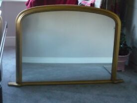 LARGE OVERMANTLE MIRROR FOR SALE, GOLD FRAME