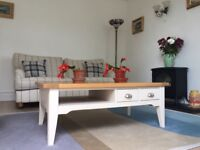 DFS Gower Sofa, X2 Armchairs, pouffe, Coffee table, X2 Lamp/Side tables