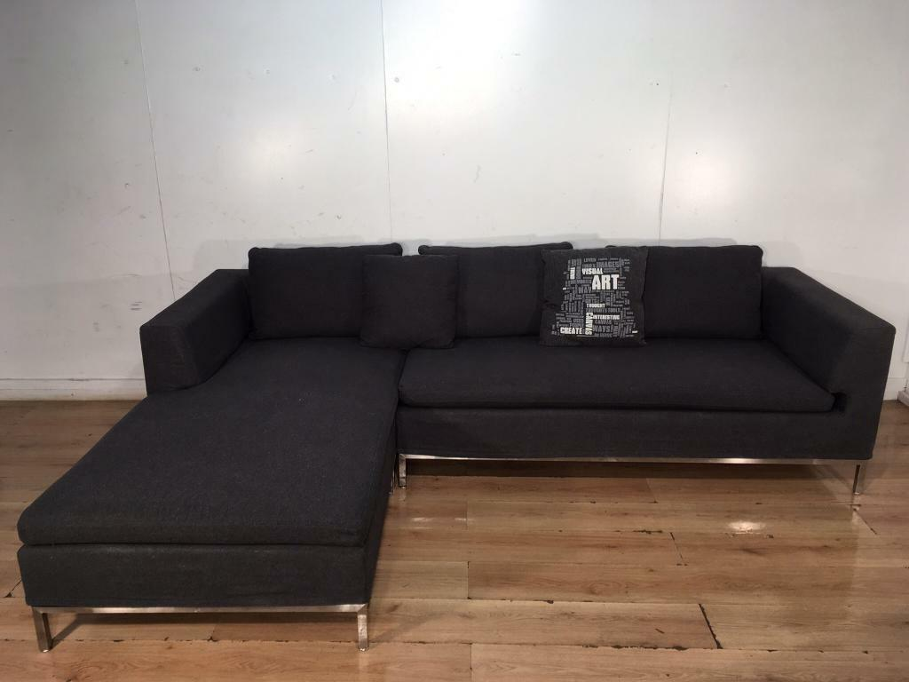 Dwell Gray Modern Corner Sofa With Free Delivery Within London