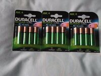 AA RECHARGEABLE DURACELL BATTERIES 3 PACKS RECHARGE ULTRA,LAST